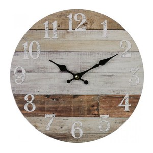 Clock French Country Vintage Wall Hanging 34cm NATURAL WEATHERBOARDS New