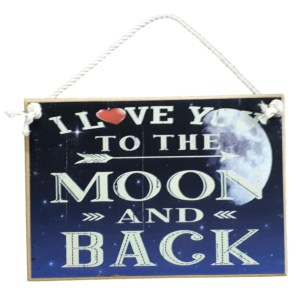 Country Printed Quality Wooden Sign Love You To The Moon Back New Plaque Sayings