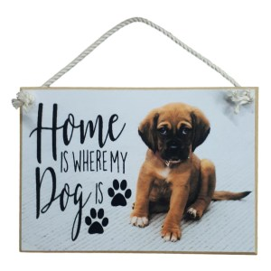 Country Printed Quality Wooden Sign HOME IS WHERE MY DOG IS Plaque New