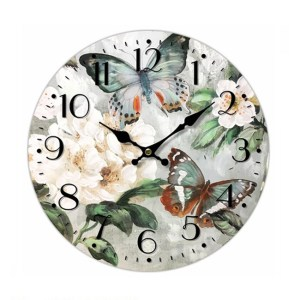 Clock French Country Vintage Wall Hanging 34cm TWO BUTTERFLIES New