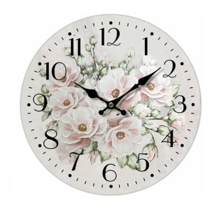 Clock French Country Vintage Wall Hanging 34cm PINK FLOWERS 3 New