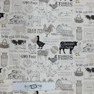 Quilting Patchwork Sewing Fabric FARM TO TABLE WHITE 50x55cm FQ Material New