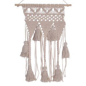French Country Vintage Inspired Boho Cream MACRAME with TASSLES New