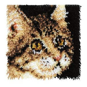 Wonderart Kit Latch Hook TABBY CAT with Canvas, Hook and Threads New