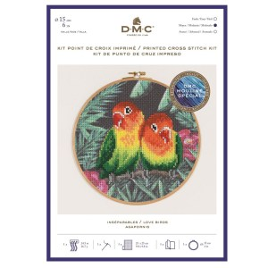 DMC Cross Stitch LOVE BIRDS Kit New Printed X Stitch BK1791