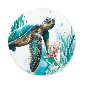 Kitchen Cork Backed Placemats AND Coasters ROUND SEA TURTLE Set 6 New