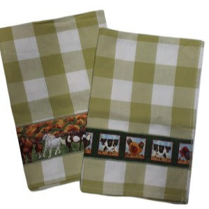 Country Style New Tea Towels Set of 2 HORSES COWS Sage Green Teatowels New