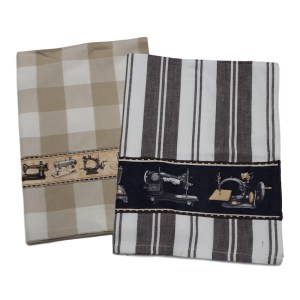 Country Style New Tea Towels Set of 2 SEWING MACHINES Teatowels New