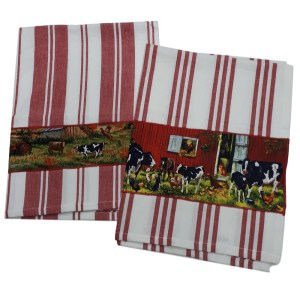 Country Style New Tea Towels Set of 2 COWS RED STRIPE Teatowels New