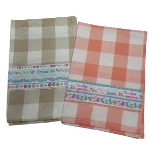 Country Style New Tea Towels Set of 2 DO WHAT YOU LOVE Teatowels New