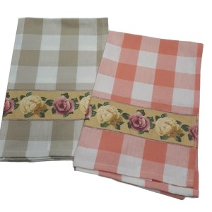 Country Style New Tea Towels Set of 2 ROSES Check Teatowels New