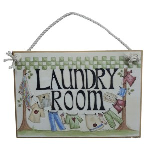 Country Printed Quality Wooden Sign CHECKS LAUNDRY ROOM Plaque New