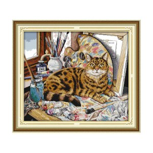 Cross Stitch Kit CAT OIL PAINTING X Stitch Joy Sunday Incl Threads New