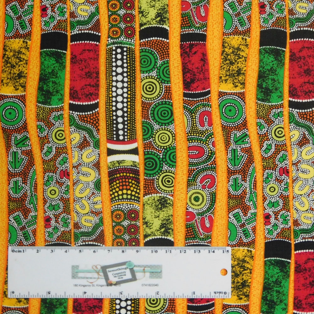 Quilting Patchwork Sewing Fabric GOANNA WALKABOUT Didgeridoo 50x55cmFQ NEW