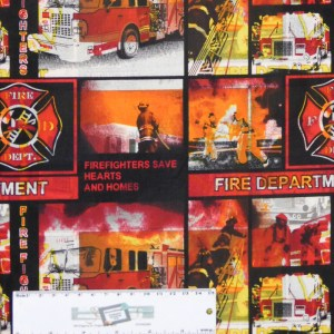 Quilting Patchwork Sewing Fabric FIRE FIGHTERS 50x55cm FQ New