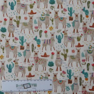 Quilting Patchwork Sewing Fabric LLAMAS 50x55cm FQ Material New