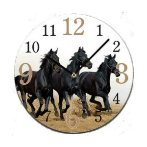 French Country Chic Retro Inspired Wall Clock 30cm BLACK HORSES New