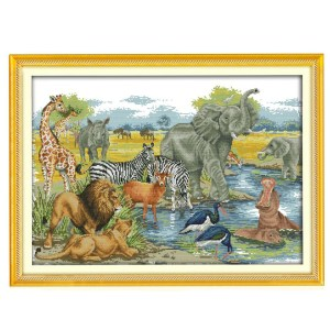 Cross Stitch Kit ANIMAL WORLD X Stitch Joy Sunday Incl Threads New