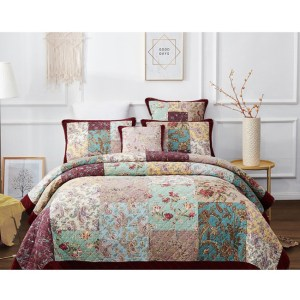 French Country Patchwork Bed Quilt DRAMATIC FLORAL Throw Coverlet New