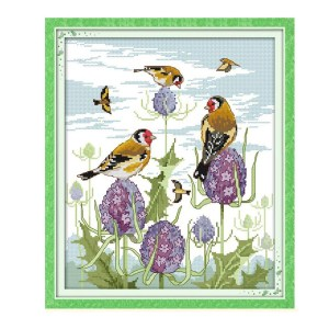 Cross Stitch Kit HAPPY BIRDS X Stitch Joy Sunday Designs Incl Threads New