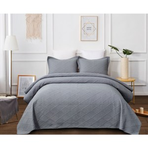 French Country Patchwork Bed Quilt MISTY GREY Throw Coverlet New