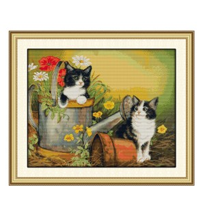 Cross Stitch Kit TWO KITTENS X Stitch Joy Sunday Designs Incl Threads New