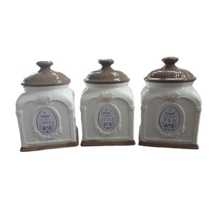 French Country Kitchen Canisters Tea Coffee Sugar Brown Lid with Seals New