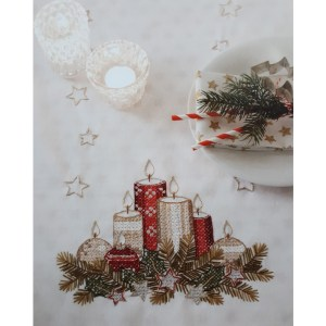 Cross Stitch and Embroidery Kit CHRISTMAS CANDLES Table Runner Incl Threads Rico New