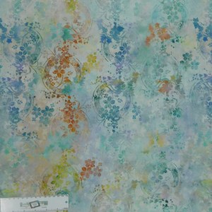 Quilting Patchwork Sewing Fabric GARDEN OF DREAMS FLORAL WREATH BLUE 50x55cm FQ New