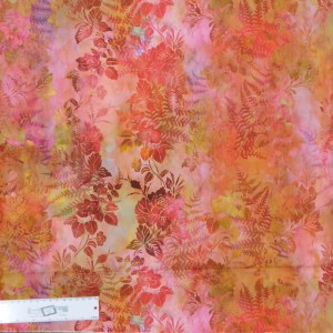 Quilting Patchwork Sewing Fabric GARDEN OF DREAMS ORANGE 50x55cm FQ New Jason Yenter
