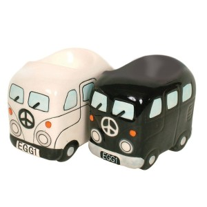 French Country Lovely Egg Cup KOMBI CAMPERVANS Black and White Set 2 New