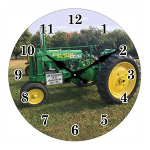 French Country Chic Retro Inspired Wall Clock 17cm JOHN DEERE TRACTOR New