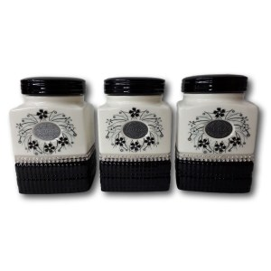 French Country Elegant Kitchen Canisters Tea Coffee Sugar BLACK and WHITE with Seals New