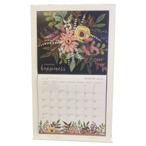 2020 Lang Legacy Calendar Frame Wooden WHITE HOOK Display Calender New