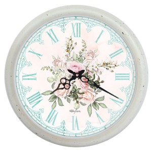 Clock French Country Vintage Wall Hanging 40cm ENGLISH ROSE New