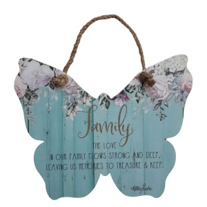 Country Tin Sign Wall Art ENGLISH ROSE Butterfly Family Plaque New