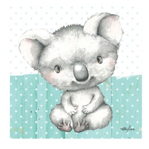 French Country Stretched Canvas Print Small BABY JOEY Koala 20x20cm New