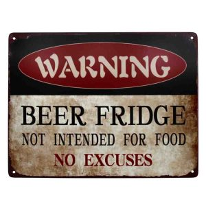 Country Tin Sign Vintage Look Wall Art BEER FRIDGE NOT FOOD Plaque New