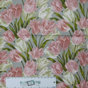 Quilting Patchwork Sewing Fabric TOTALLY TULIPS PINK ALLOVER 50x55cm FQ New Material