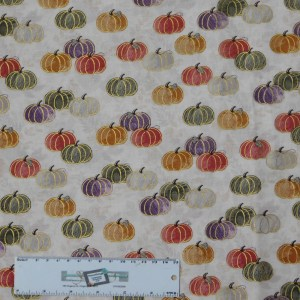 Quilting Patchwork Sewing Fabric METALLIC MULTI PUMPKINS 50x55cm FQ New Material