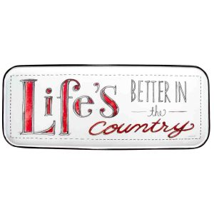 Country Metal Enamel Sign Wall Art LIFE BETTER IN COUNTRY Plaque New