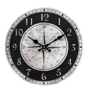 Clock French Country Vintage Wall Hanging 34cm NSEW BLACK WHITE New