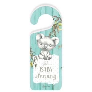 French Country Vintage Wooden BABY JOEYS Koala Baby Sleeping Door Knob Hanger New