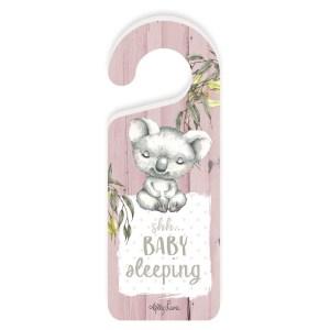 French Country Vintage Wooden BABY JOEYS Koala Girl Baby Sleeping Door Knob Hanger New