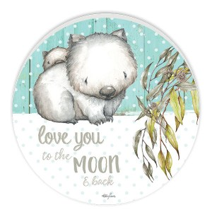 French Country ROUND Wall Art BABY JOEY Wombat Moon Large Sign New