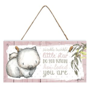 French Country Inspired Wall Art BABY JOEY Wombat Twinkle Little Star Wooden Sign New