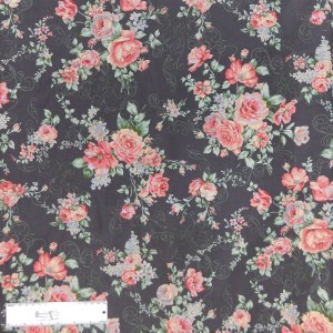 Quilting Patchwork Sewing Fabric FLORAL PROMISE GREY LARGE ROSES 50x55cm FQ New