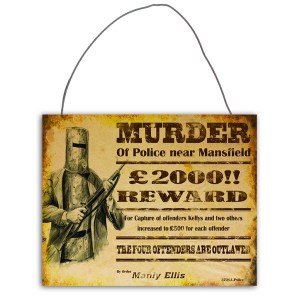 Country Tin Sign Vintage Look Wall Art NED KELLY MURDER Plaque New