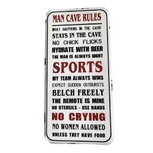 Country Tin Sign Vintage Enamel Wall Art MAN CAVE RULES Plaque New