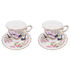 French Country Chic Kitchen Tea Cups and Saucers Set of 2 BLUE WREN New